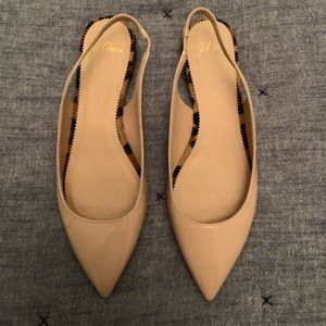 J. CREW pointed toe sling backs with leopard heel